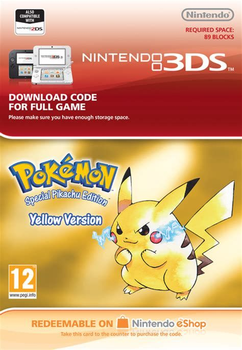 Pokemon Yellow Digital Download... Best Buy sells these redeemable cards where one can buy a digital copy of one of the original Pokemon games that's now compatible with the Nintendo 3DS. I owned Yellow (and Blue) back when I was a kid. Oh, the nostalgia...
