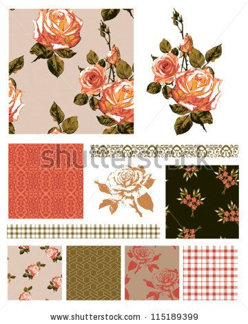 Floral Rose Seamless Patterns and trims. - stock vector
