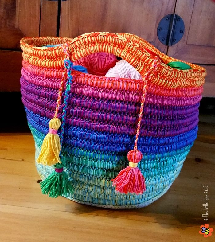 The Ropey Rainbow Basket by The little bee http://www.ravelry.com/patterns/library/ropey-rainbow-basket