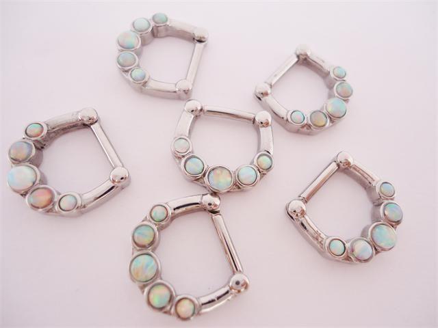 Opal Septum Clicker- Kings Body Jewelry