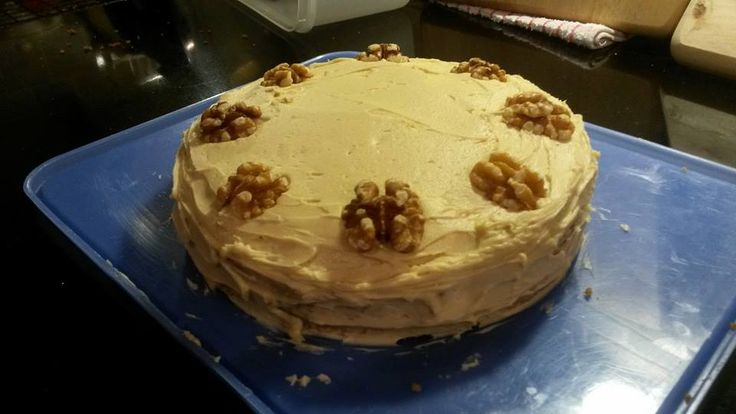Keith's birthday coffee and walnut cake 2015.