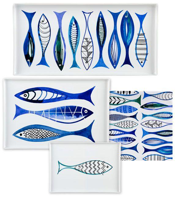 Margaret Berg Art: Simple+Fishies+(Blue)+Dinnerware