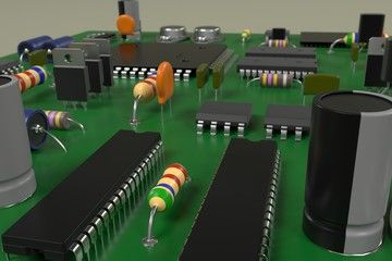 3d rendering of computer board