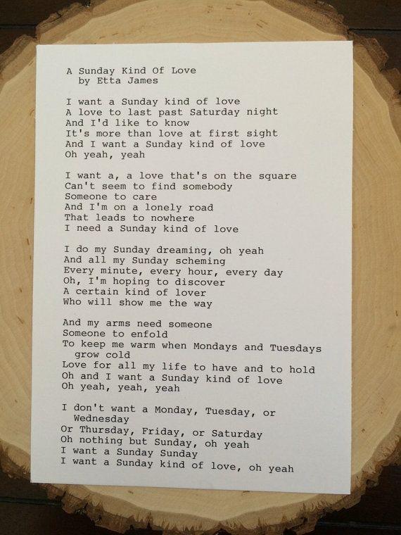 Etta James: A Sunday Kind Of Love Lyrics by TypographyByMel