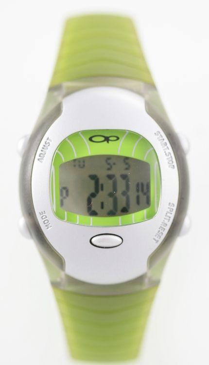 Ocean Pacific Women's Digital Water Resistant Green Rubber Battery Quartz Watch