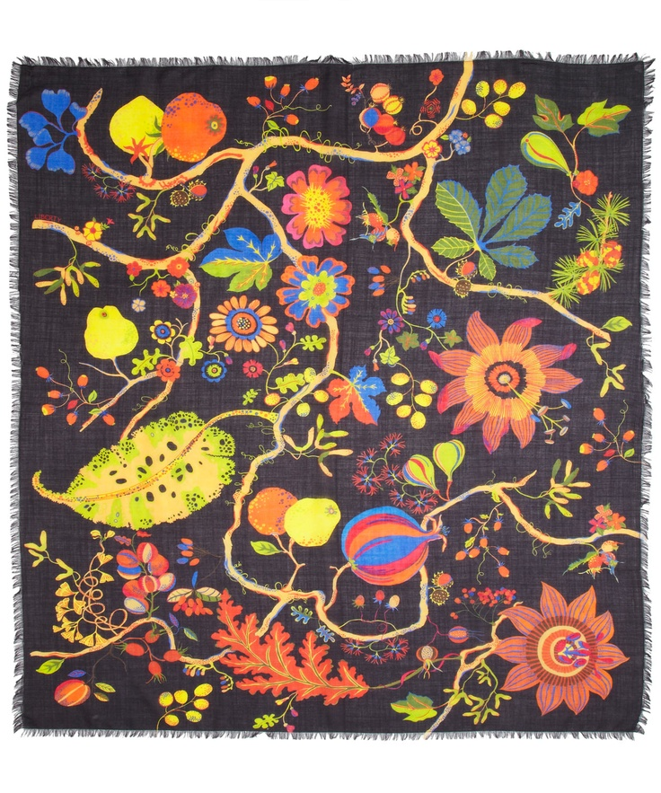 Black Winter Fruits Print Wool Scarf, Liberty London. Shop the latest Liberty London Scarves collection online at Liberty.co.uk