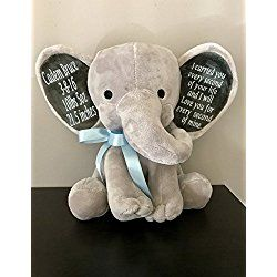 """An Elephant Never Forgets! Personalized 9"""" Memorial Stuffed Animal Elephant Bear Memoriam Keepsake Remembering the Loss of a Loved One."""