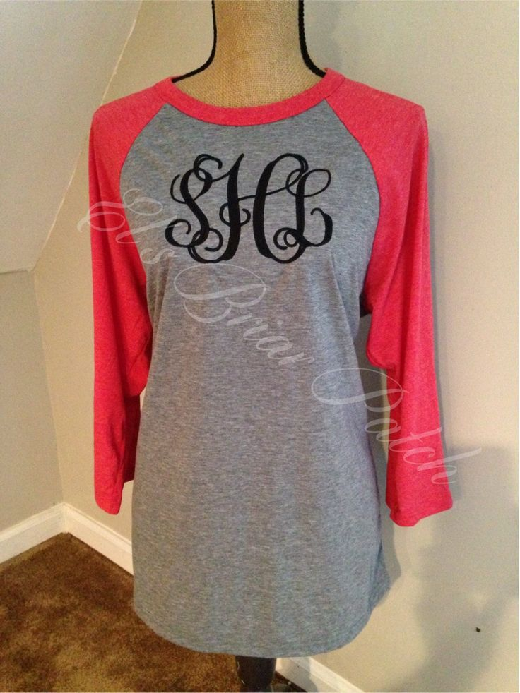 Large Monogrammed Baseball Tee Personalized Monogrammed T-shirts by ElsBriarPatch on Etsy