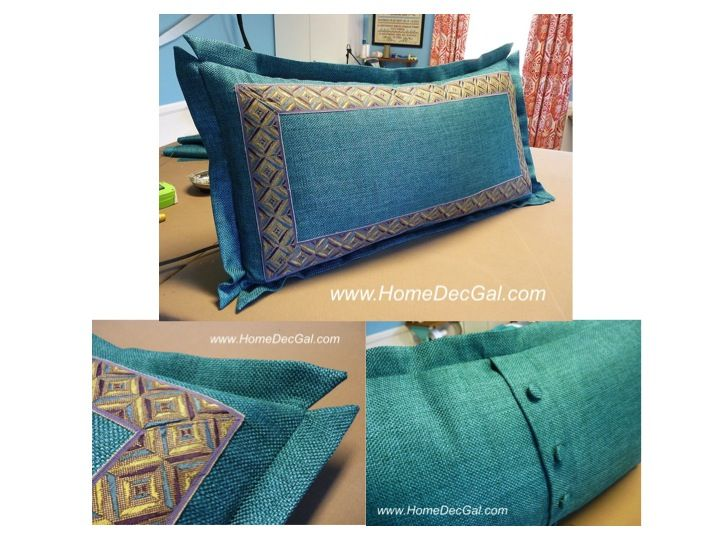 Amazing This Pillow Has Inset Banding, Split Mitered Flange And Button Closure With  A Feather