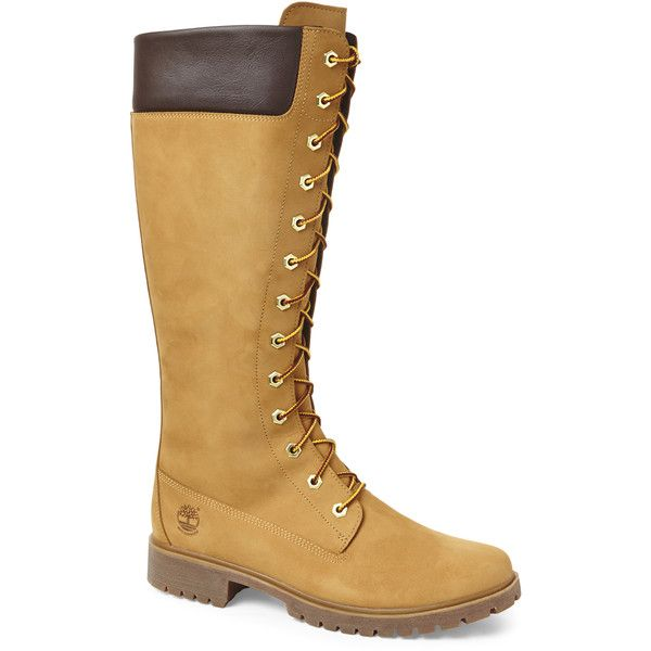 "Timberland Wheat Earthkeepers 14"" Premium Boots ($130) ❤ liked on Polyvore featuring shoes, boots, beige, laced up boots, lace front boots, small heel boots, low heel boots and timberland shoes"