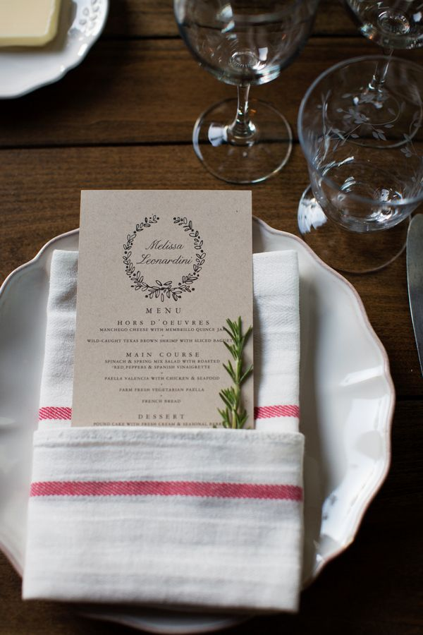 A single sprig of rosemary is the simplest (and inexpensive) way to spruce up any table setting!  photo: megan reeves