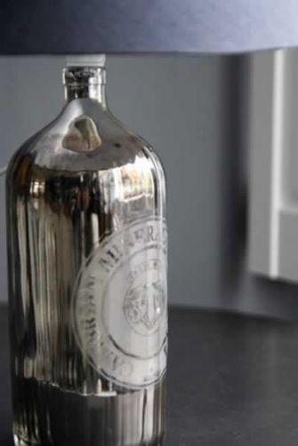 Vintage Silvered Soda Bottle Table Lamp - Black/Grey Shade