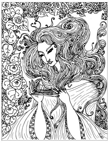 art nouveau coloring pages beautiful girl - Beautiful Coloring Pages Girls
