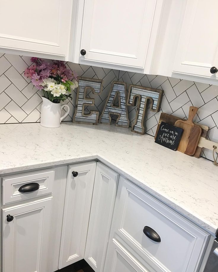Kitchen Remodel, Modern Farmhouse, Farmhouse Style, Farmhouse Decor, White Kitchen, Subway Tile, Herringbone Subway Tile, Hobby Lobby Decor, Kitchen Reno,   See Instagram photos and videos from Robin Norton (@rocknrob)
