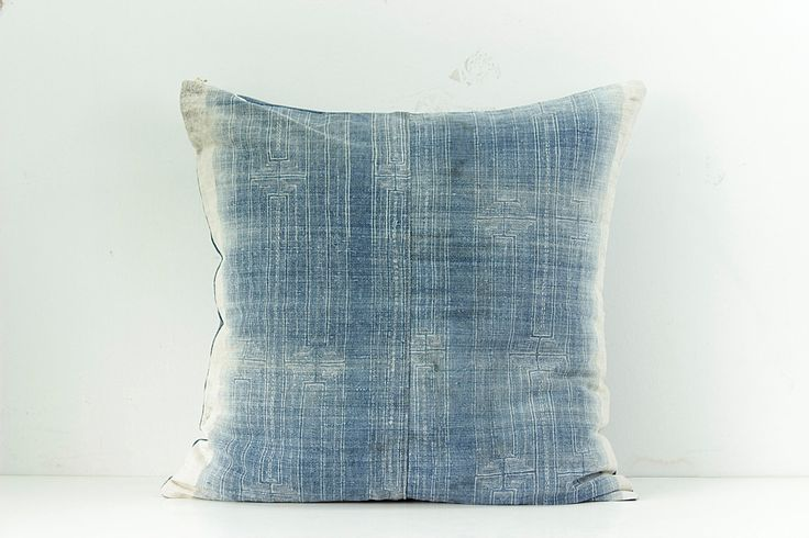 "Boho Bohemian Rare Vintage HMONG Textile Batik Hand dyed Embroidered Ethnic Textile Blue Navy Nautical Pillow Case 20"" x 20"" by Tshaj on Etsy https://www.etsy.com/listing/248489993/boho-bohemian-rare-vintage-hmong-textile"
