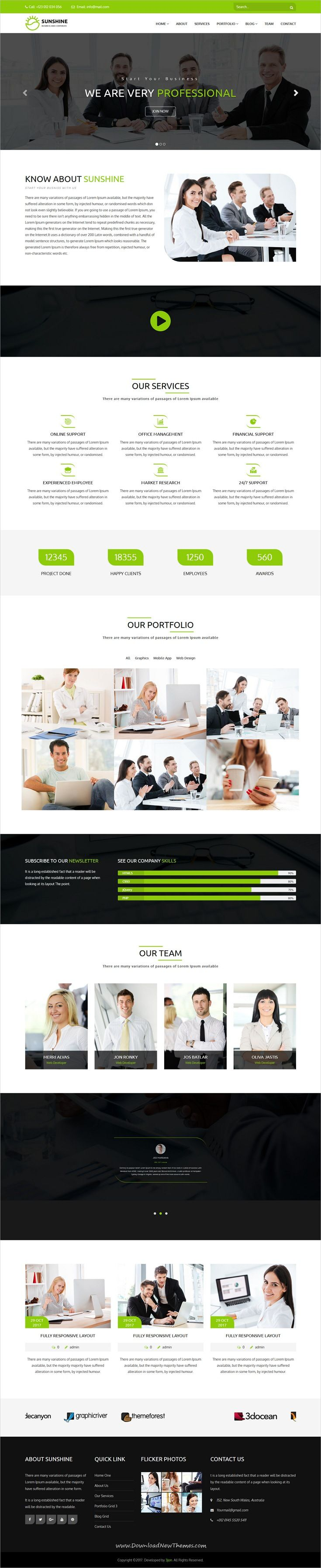 Sunshine is clean and modern design responsive #WordPress theme for #corporate business and professional services website to live preview & download click on Visit 👆 #websitedesign
