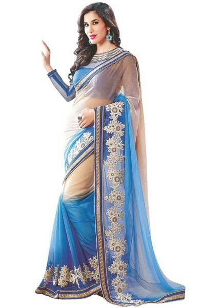 Peach Yellow and #Deep Sky Blue #Faux #Georgette Embroidered #Festival Saree Sku Code: 417-6049SA244641 US $ 57.00  http://www.sareez.com/peach-yellow-and-deep-sky-blue-faux-georgette-embroidered-festival-saree.html#   #Sophie