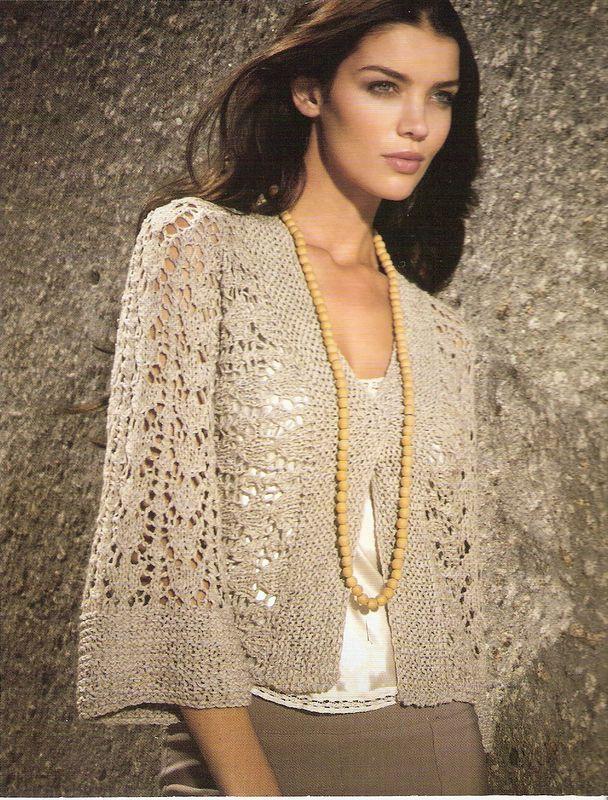 Жакет с рукавами кимоно — вязание спицами