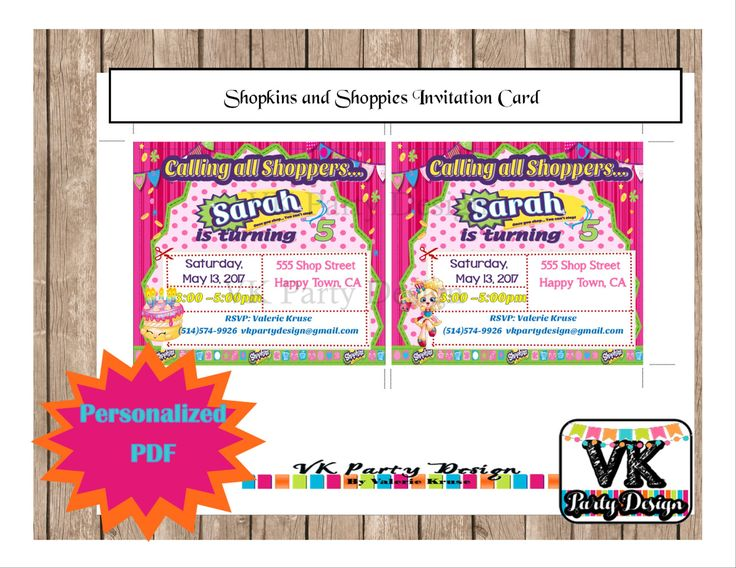 A personal favorite from my Etsy shop https://www.etsy.com/listing/507183964/shopkins-and-shoppies-invitation-card