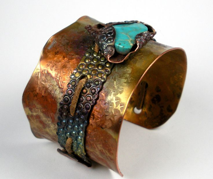 Turquoise and Copper Cuff, A Hammered, Stamped and Folded Copper Cuff with Sleeping Beauty Turquoise, and Heat Patina - The Rustic Heart
