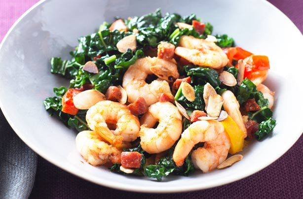 Cavelo, prawn and chorizo stir-fry