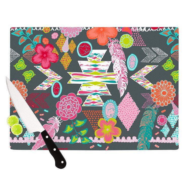 "Anneline Sophia ""Aztec Boho Tropical"" Gray Rainbow Cutting Board"