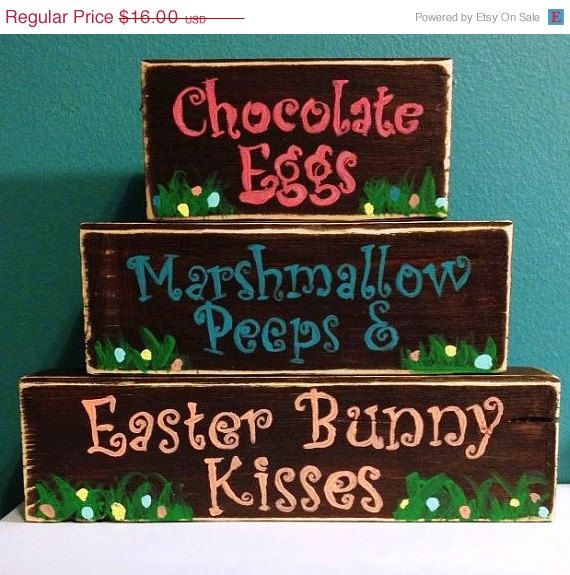 Chocolate Eggs Marshmallow Peeps and Easter Bunny Kisses Wood Blocks Easter Decor Easter Wood SIgn Easter Blocks Primitive Block Decor on Etsy, $15.93 CAD