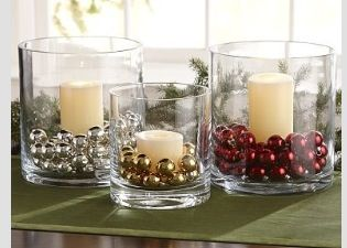 Place bells or small ornaments in glass jars for votives change ball color for each holiday