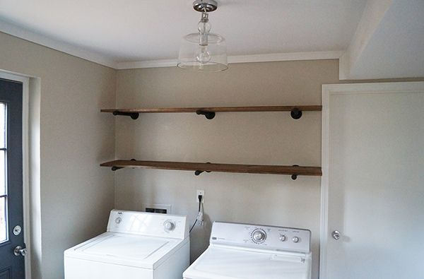 diy laundry room storage ideas pipe shelving shelves