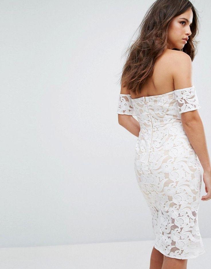 Amor sweetheart bardot midi dress in white party