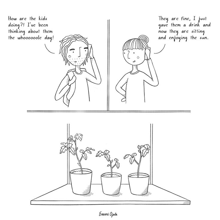 Urban gardening, comic by Emmi Ojala