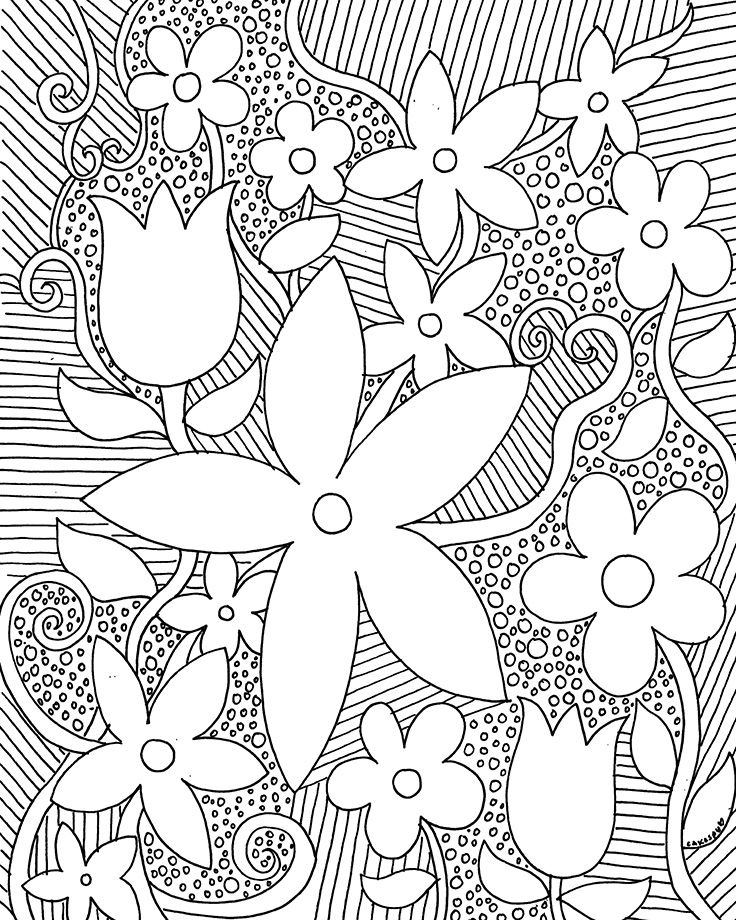 coloring book page flowers
