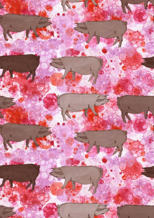 Pattern with piglets/ pigs for textile or wallpaper or whatever comes to mind. Made by hand on paper with acrylic paint and then digitized. Good for fashion, skirt, dress shirt or interiors maybe cover of notebook. onebeecraft
