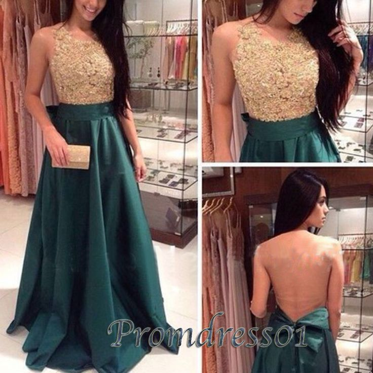 Cute backless gold lace dark green satin long prom dress for teens, ball gown, prom dresses 2016 #coniefox