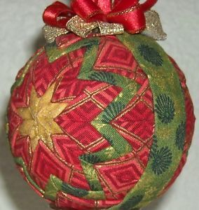 Handmade Quilted Folded Star Ball Ornament Christmas