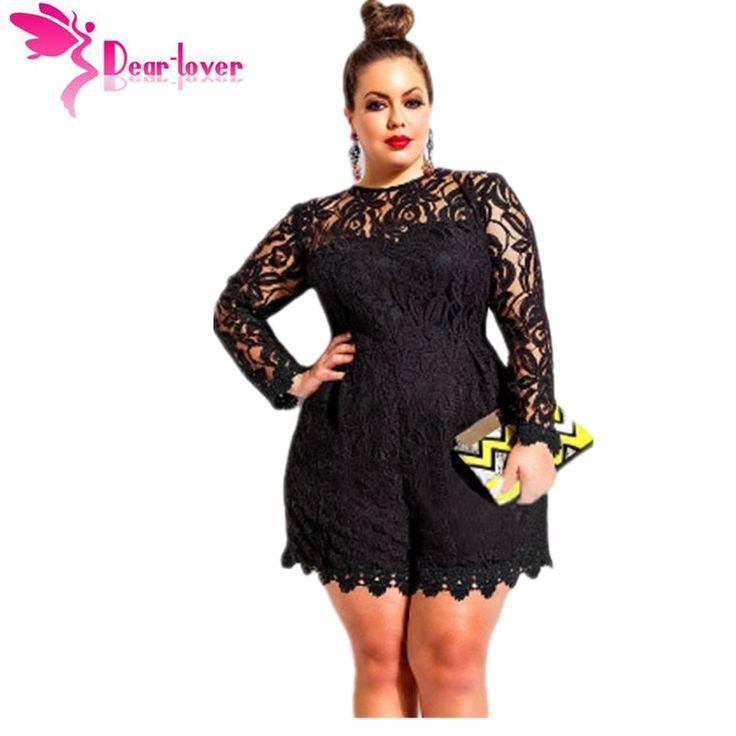My Lover Hitam Plus Ukuran Lengan Panjang Renda Baju Monyet Overall Pakaian Bermain Macacao Feminino Untuk Wanita Celana Pendek Kebesaran 5XL 4XL LC60599
