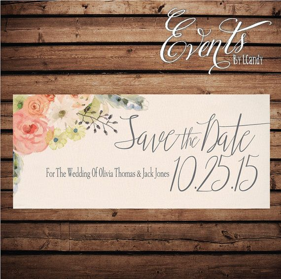 Wedding Save-the-Date Printed Postcard  floral by Eventsbyicandy