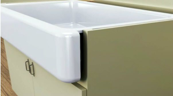 shallow farmhouse sink | The Whitehaven sink is made of durable KOHLER Enameled Cast Iron and ...
