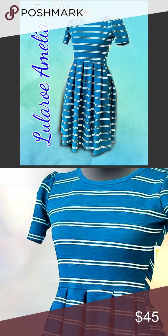 NWT Lularoe Amelia dress XXS Teal stripe gorgeous Awesome dress with vibrant teal! New with tags. $65 value on the Amelia dress. Offers are welcome with purchase of 2 or more items. Low ball offers will not be accepted. You are saving below retail. Only one at this price! Grab while you can. Thank you for looking! LuLaRoe Dresses