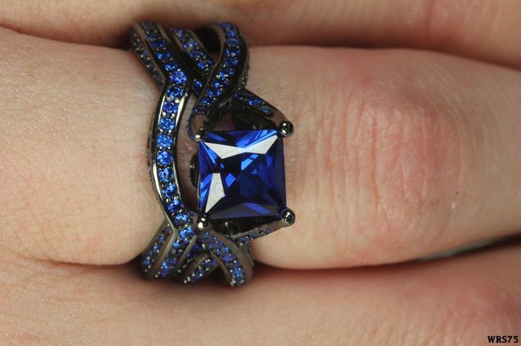 Womens Gothic Black  Blue Sapphire Sterling Silver Engagement Wedding Ring Set in Jewelry