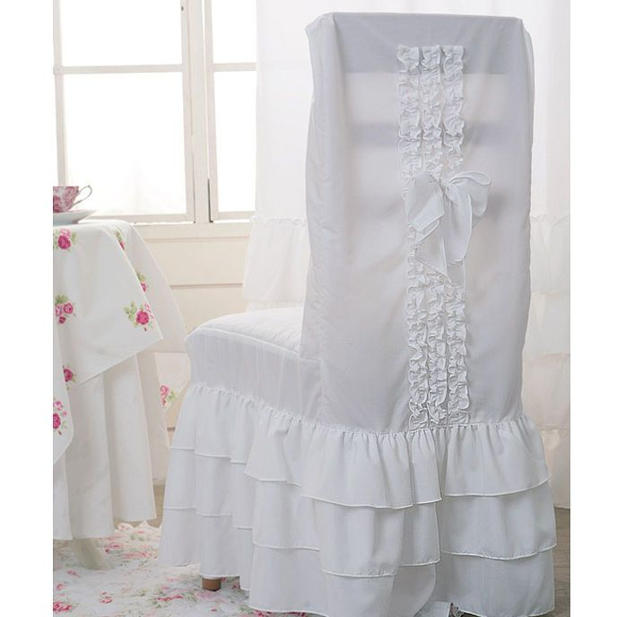 White Ruffle Romantic Chair Cover Dining Room Slipcover