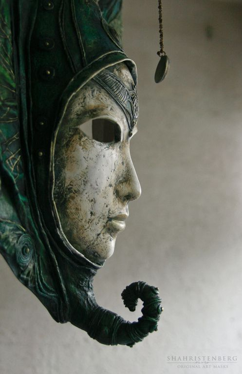 Купить Джехути - маска, интерьерная маска, авторская маска, шахристенберг, зеленая маска, архетип, юнг