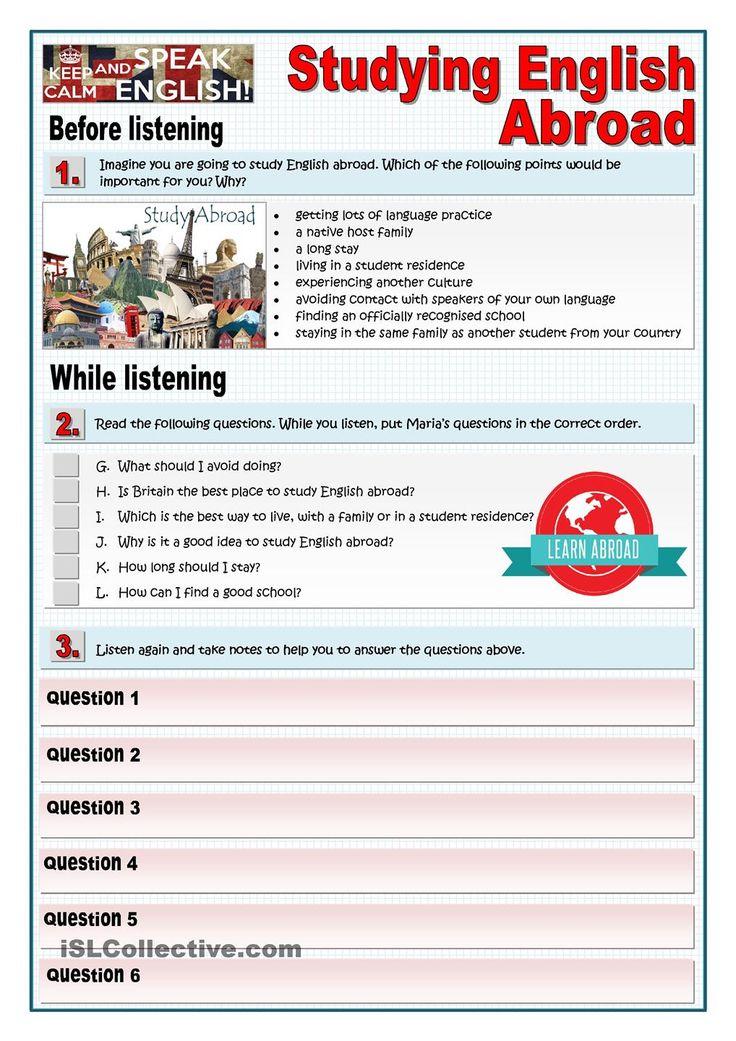STUDYING ENGLISH ABROAD - LISTENING