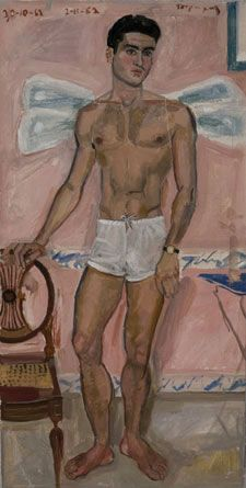 Youth dressed as Eros with dragonfly wings Athens, 1962 (Oil on cloth)