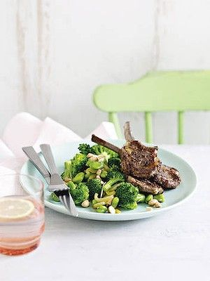 Michelle Bridges - Lamb cutlets and broccoli, broad beans and almonds. Looks good