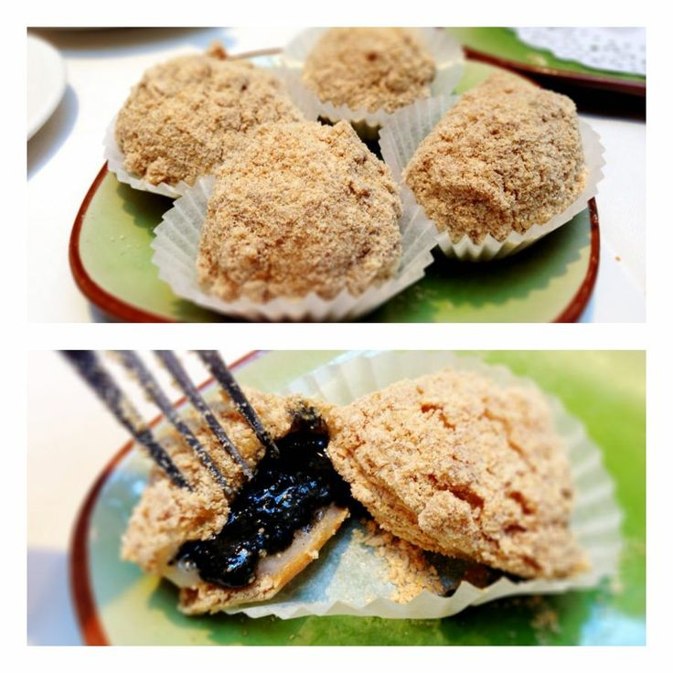 Black Sesame Glutinous Rice Balls with Crushed Peanuts...gooey and delicious! From the best dim sum in Vancouver, Kirin Restuarant. http://foodietours.ca/photo-guide-dim-sum-kirin-restaurant/