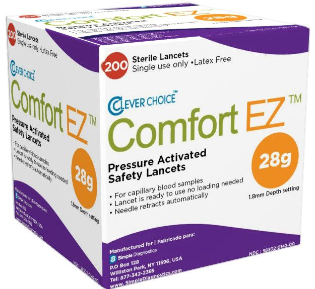 The Clever Choice Comfort Ez® Pressure-Activated Safety Lancets have a lancing device and a needle in a complete disposable unit that is used only once