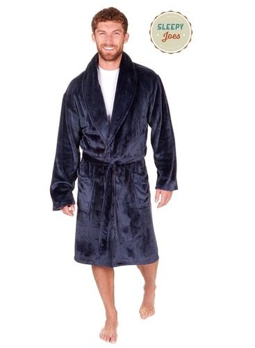 Mens Navy Luxury Satin Feel Fleece Shawl Collar Bath Robe in 2019 ... 7c54edd3b