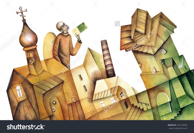 Russian Landscape With An Angel by Eugene Ivanov. #eugeneivanov #cubistic #urban #landscape #cityscape #cubism #@eugene_1_ivanov