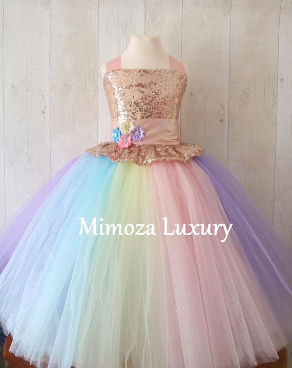 da919629e41f Luxury Unicorn Birthday Dress, unicorn tutu dress, rainbow unicorn girls  dress, sequins unicorn dress, rose gold unicorn dress, 1st birthday in 2019  ...